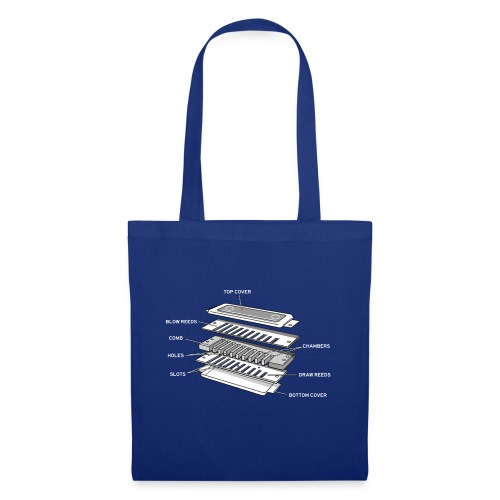 Exploded harmonica - white text - Tote Bag