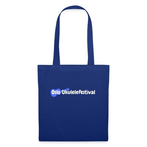 Oslo Ukulelefestival logo i hvitt og blått - Stoffveske