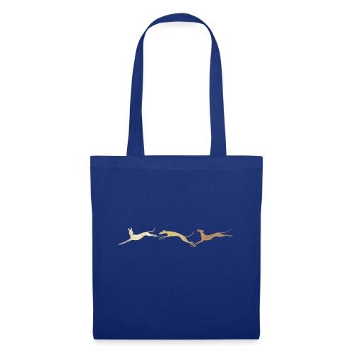 3 springende braune Windhunde - Stoffbeutel