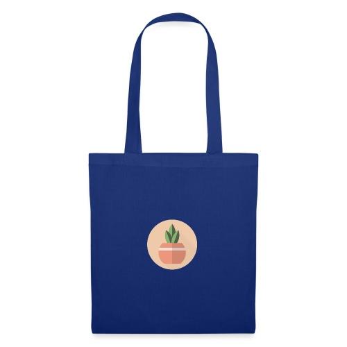Flat 3 Leaf Potted Plant Motif Round - Tote Bag