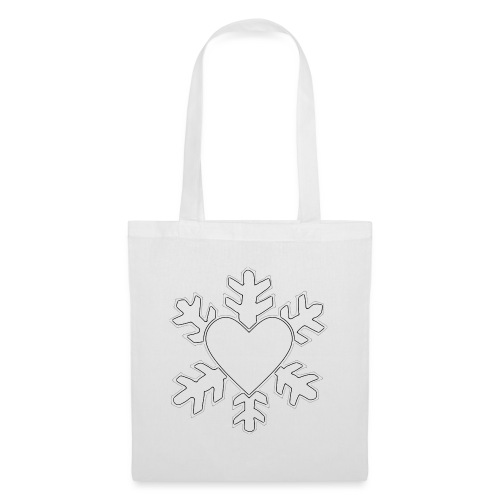 Flocon coeur 3D - Tote Bag