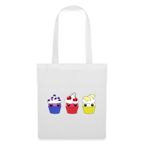 three kawaii cupcakes blueberry cherry lemon - Tote Bag