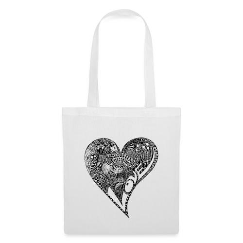 Heart black - Stoffbeutel