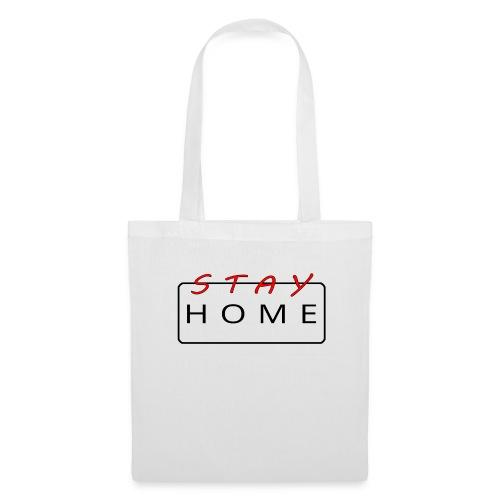 stay home rot/schwarz - Stoffbeutel