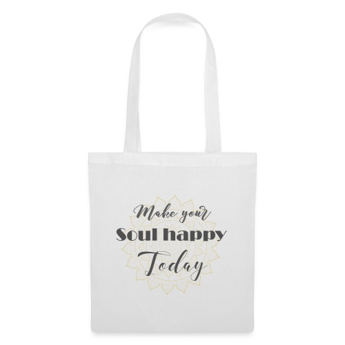 Make your soul happy today - grey mandala - Stoffbeutel
