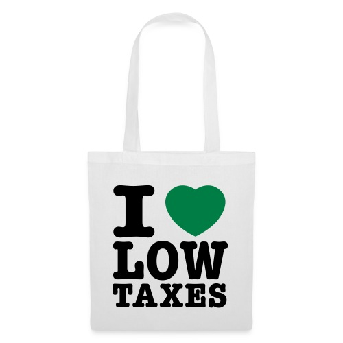 i love low taxes cmyk 2 spots 2 - Tote Bag