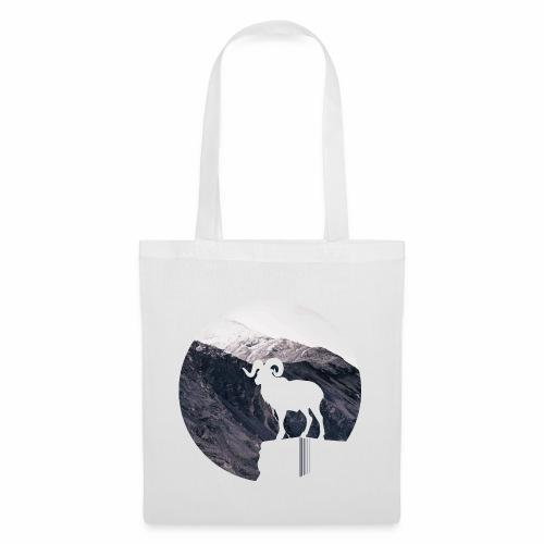 Hiking Outdoor Design mit Bergziege - Bergpanorama - Stoffbeutel