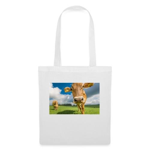 cow switzerland pasture green meadow clouds - Stoffbeutel