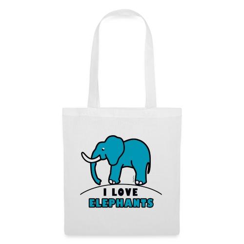 Blauer Elefant - I LOVE ELEPHANTS - Stoffbeutel