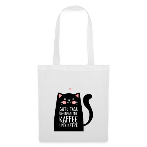 Gute Tage starten mit Kaffee und Katze - Stoffbeutel
