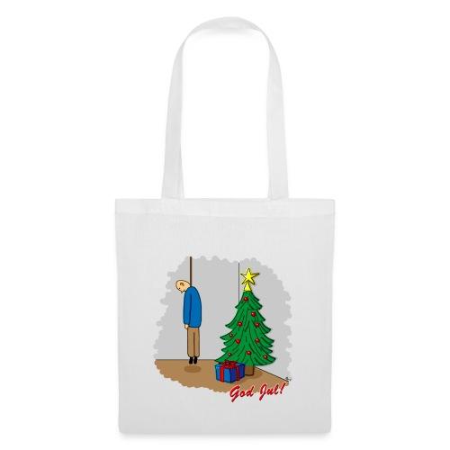 Cyniskt julmotiv - Ensam på julafton - Röd - Tygväska