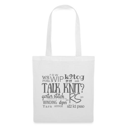 Talk Knit ?, gray - Tote Bag
