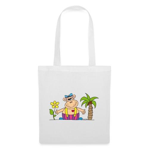 lustiges Nilpferd Sonnenblume Palme Hippo - Tote Bag
