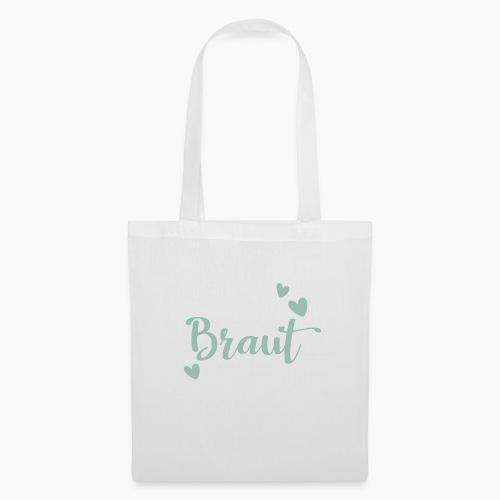 Braut-Schriftzug mit Herzen mintgrün - Tote Bag