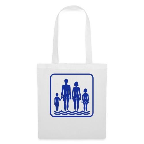 Vit/marinblå Family naturism T-shirts - Tygväska