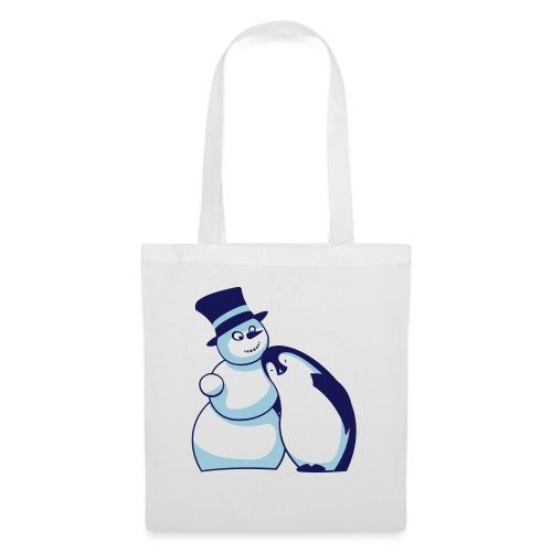Schneemann und Pinguin - Stoffbeutel