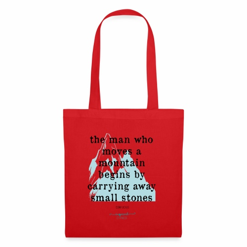 Confucius` Quote - The man who moves a mountain - Tote Bag