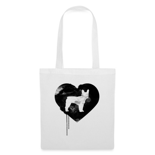 Französische Bulldogge Herz mit Silhouette - Stoffbeutel