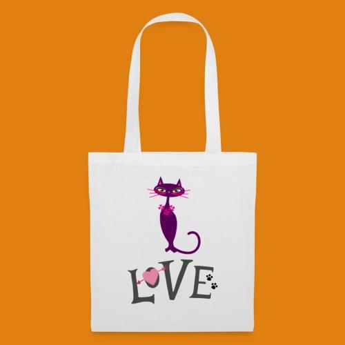 t-shirt cat love - Tote Bag