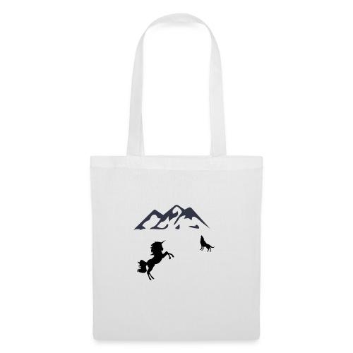 Einhorn mit Wolf in den Bergen - Stoffbeutel