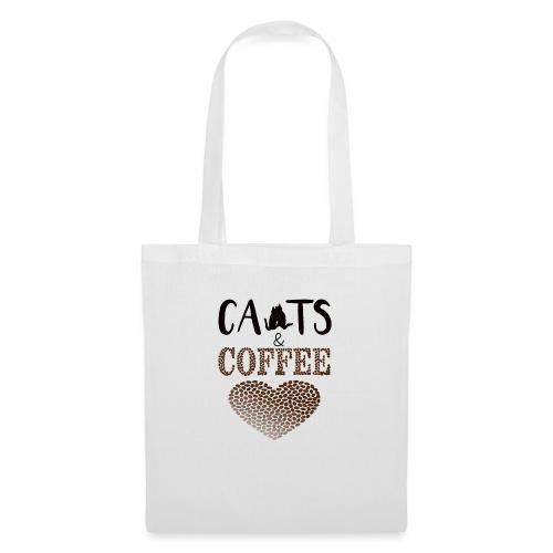 Katzen und Kaffee Schwarze Schrift - Stoffbeutel