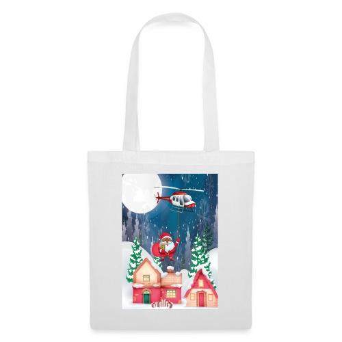 Black Santa kommt mit dem Hubschrauber - Stoffbeutel