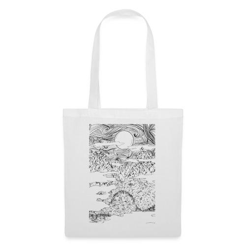 doodle montagna, disegno scena naturale notturna - Borsa di stoffa