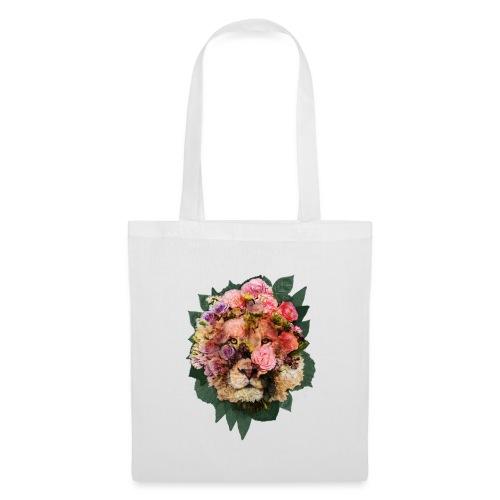 Ritratto leone fiori in doppia esposizione - Borsa di stoffa