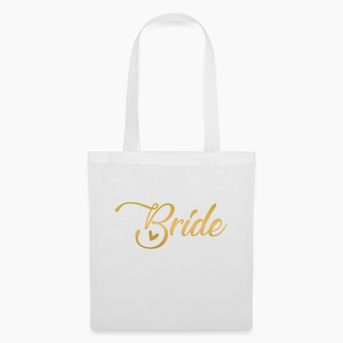 Bride - yellow lettering with a decor. heart - Tote Bag