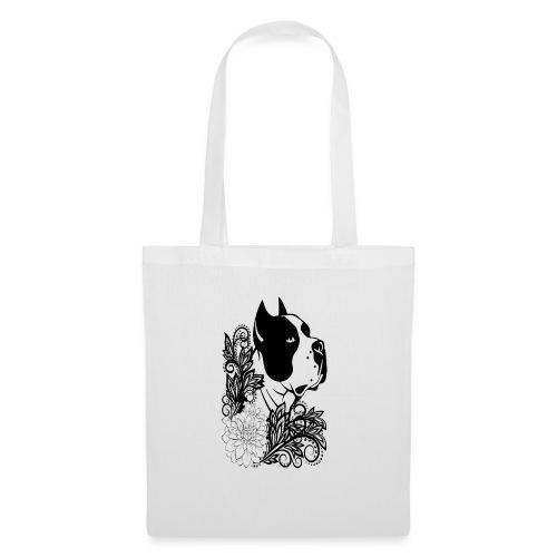 perro con flores - Bolsa de tela