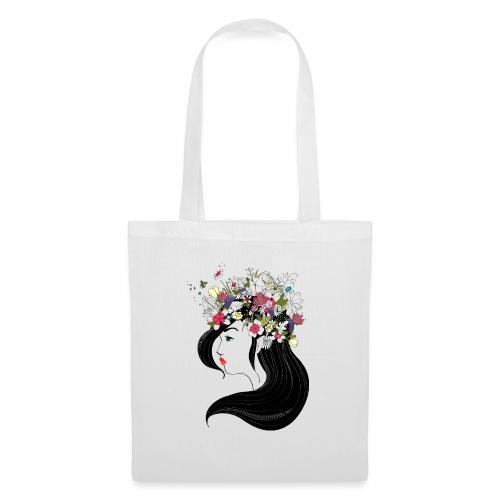 Flower & Black Hair - Tote Bag
