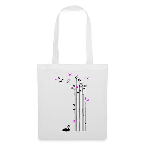 Frühling Schwan Blumen Schmetterlinge Swan - Tote Bag