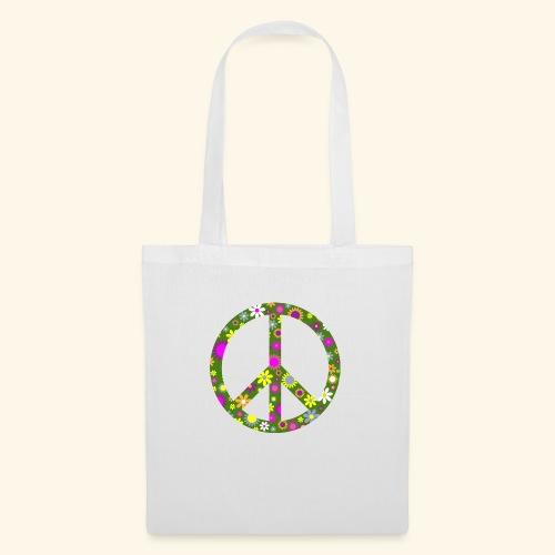 Peace Zeichen mit Blümchen - Stoffbeutel