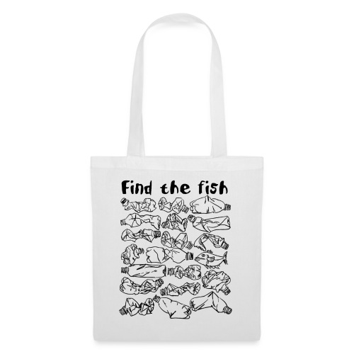 ECO ocean plastic bottles pollution find the fish - Tote Bag