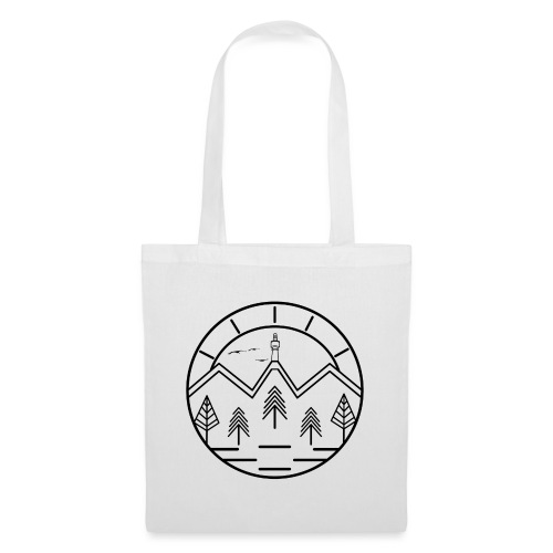 Lineart Schneeberg Fichtelgebirge Bäume Berge - Stoffbeutel