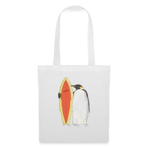 Ein Pinguin mit Surfboard - Stoffbeutel