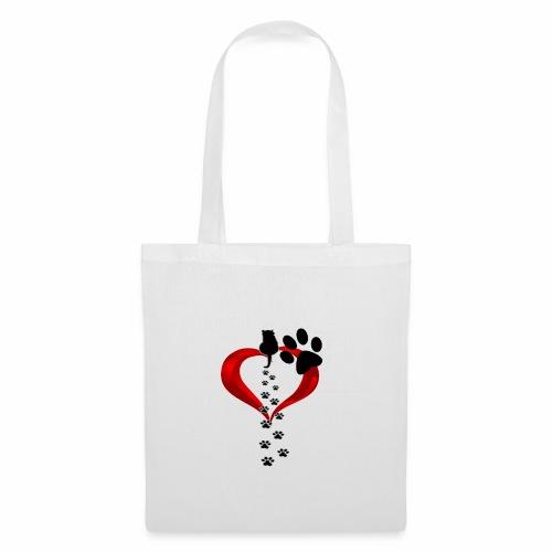 Pawcat heart - Borsa di stoffa