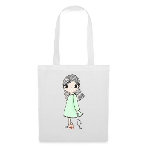 meisje met knuffel - Tas van stof