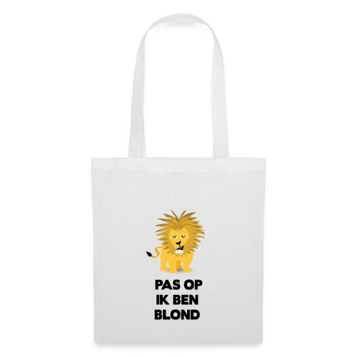 Pas op ik ben blond een cartoon van blonde leeuw - Tas van stof