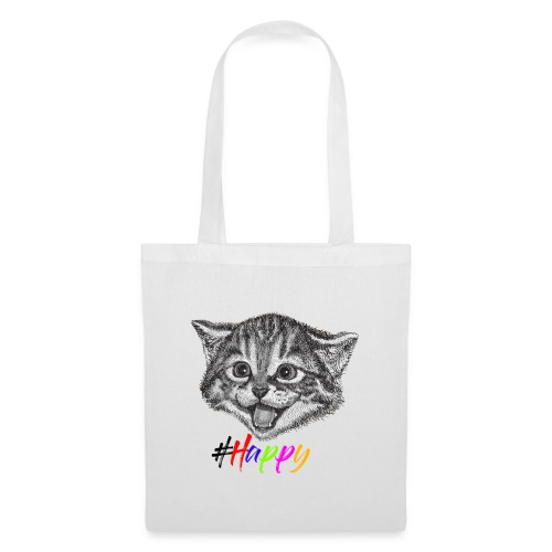 Glückliche Katze, Happy Cat - Stoffbeutel
