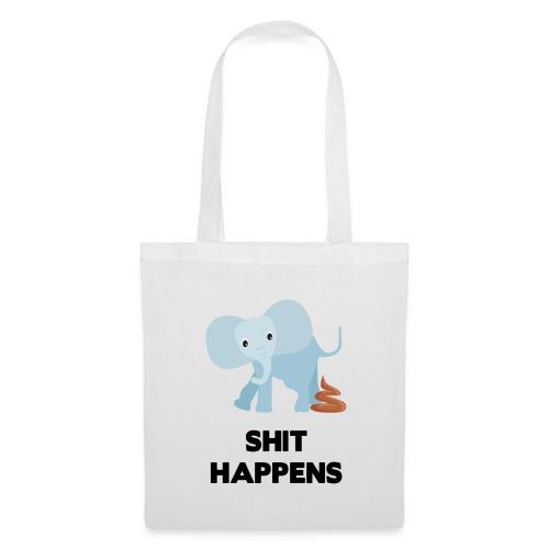 olifant met drol shit happens poep schaamte - Tas van stof