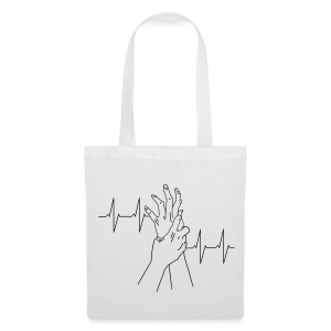 heartbeat_white - Tote Bag