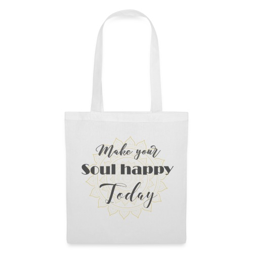 Make your soul happy today - grey mandala - Stoffbeutel