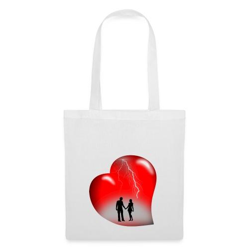 t shirt coeur rouge coup de foudre eclairs - Tote Bag