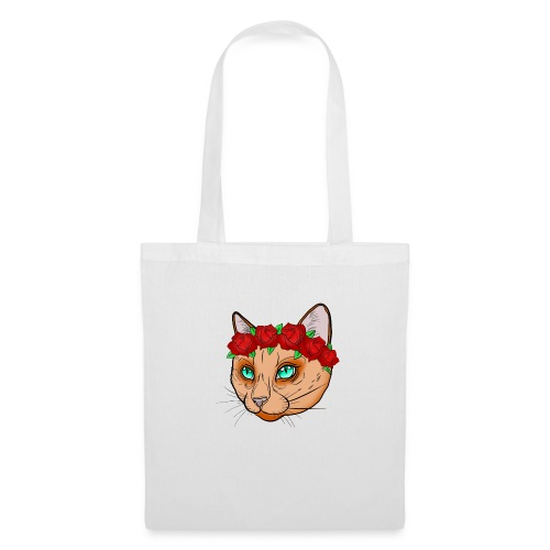 Katze Blumenkranz - Stoffbeutel