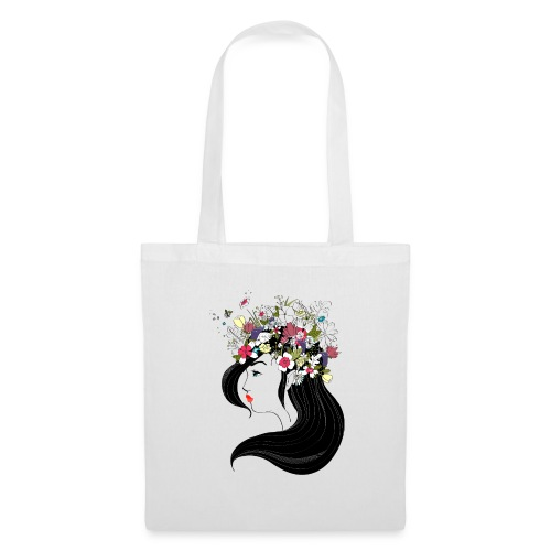 Flower & Black Hair - Tote Bag