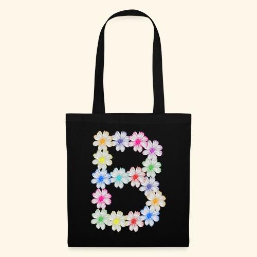 Buchstabe B aus Blumen, floral, Kosmee Blüten - Stoffbeutel