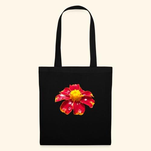 rote Ringelblume mit Regentropfen, Blume, Blüte - Stoffbeutel