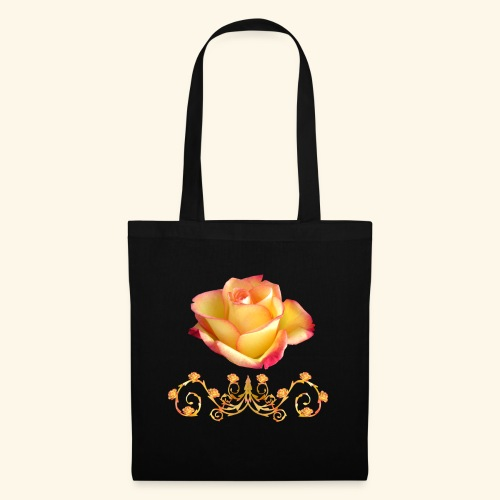 orange Rose, Ornament, Rosen, Blumen, Blüten, edel - Stoffbeutel