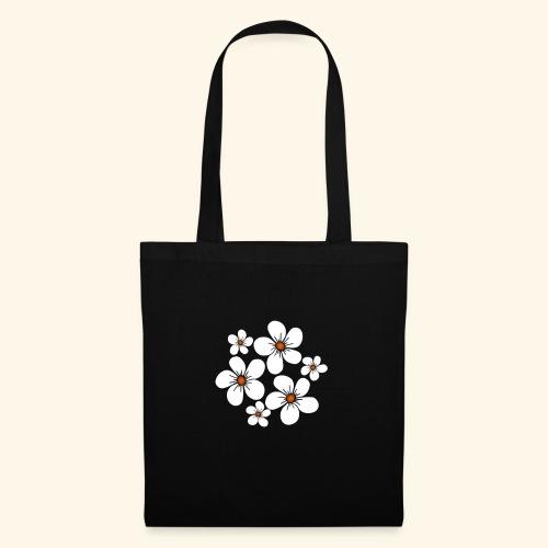 blühende weiße Blüten, Blumen, Blumenstrauß floral - Stoffbeutel